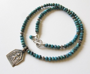 1 Turquoise Hindu Deity Amulet Necklace art